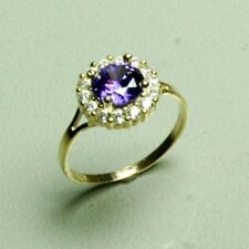 14k solid yellow gold childerens Amethyst gorgeous sparkly ring 1.25gram, size 3