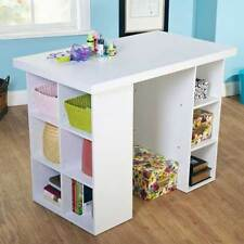 Counter-Height Craft Table Adjustable Shelves Storage Crafting Desk White New
