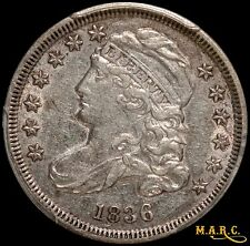 1836 AU53 PCGS 10C Capped Bust Dime, Bright and Lustrous! Flashy Reverse Fields!