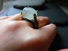 925 STERLING SILVER raw druzy TOPAZ RING sapphire size9 P goth elven fairy wicca