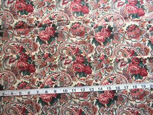 1 yd of 100% Cotton Fabric Cream with Paisley in Mauve/Green/Burgundy/Brown