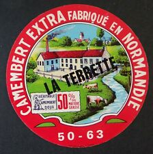 Etiquette fromage CAMEMBERT LA TERRETTE 50% French cheese label 12