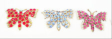 ANTIQUE 3 PINK BLUE RED CLEAR CRYSTAL RHINESTONES BUTTERFLY GOLD PINS BROOCH SET