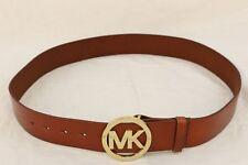 MICHAEL KORS Size L Women's Brown Genuine Leather Gold MK Buckle Logo Belt