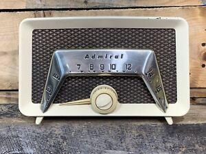 ADMIRAL Tube Radio 6C23 Art Deco Table AM Radio Beige Mid Century Vintage Works