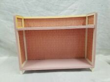 RARE VTG PINK BATHROOM SHELF 1960'S SHABBY CHIC COTTAGE WICKER PRESSED WOOD MCM