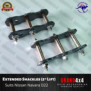 "2"" Extended Greasable Shackles 50mm to suit Nissan Navara D22 Lift Kit"