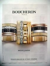 PUBLICITE-ADVERTISING :  BOUCHERON Bagues Quatre  2015 Bijoux,Joaillier,Vendôme