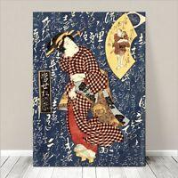 "Beautiful Japanese GEISHA Art ~ CANVAS PRINT 24x18"" Red Kimono on Blue"
