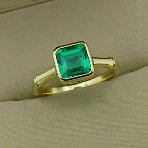 Men's 3/4Ct Asscher Shape Green Emerald 14K Yellow Gold Finish Bezel Ring Size 9
