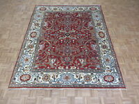 7'10 X 9'9 Hand Knotted Brick Red Persian Serapi Heriz Oriental Rug G4613