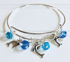 Dolphin Silver charms & colors of the Ocean Waters Expandable Bangle Bracelet