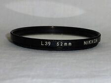 NIKKOR Nikon Thin 52 52mm L39 UltraViolet Filter 52UV Made In Japan Bin#811 used
