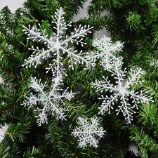 30PCs blanc flocons de neige décorations de Noël Tree Party Charms 11cm ornement