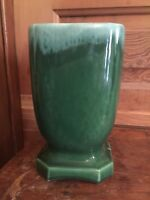 Vintage Mid Century Green Drip Art Pottery Flower Vase
