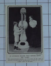 AUTOMATIC WATER MACHINE Dispenses Glass New Invention Vintage 1909 News Clipping