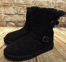 Womens Black Sheepskin Pull On Flat Heel Ankle Boots Size UK 2 EUR 35