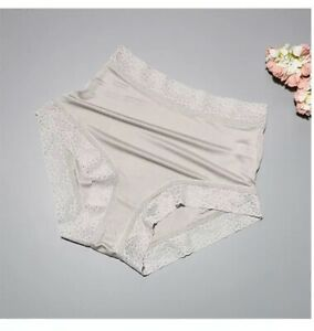 Pure Natural Silk Panties Briefs Lingerie Lace Underwear Knicker High Waist Sexy