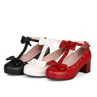 Womens Girls Cuban Heel Bowknot T Strap Bar Mary Jane Pump Court Shoes Plus Size