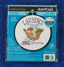 Cross Stitch Kit Laundry Today or Naked Tomorrow Learn A Craft With Hoop Frame