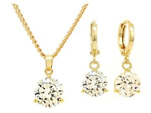 Real 18K yellow gold plated drop earrings necklace white sparkly gems gift box