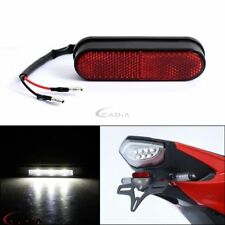 Custom Motorcycle 3 LED Rear Tail License Plate Light w/ Red Reflector Universal