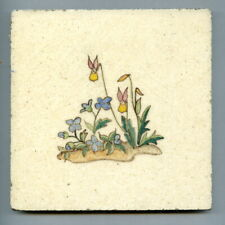 """Hand painted 6""""sq tile by Thea Bridges for Packard & Ord, 1937"""