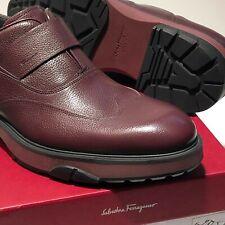 Ferragamo Wingtip Loafers 12 D Men's Dress Red Burgundy Pebbled Leather Shoes