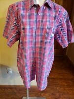 Men's Chaps Easy Care Short Sleeve Button Down Shirt Size L