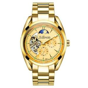 MENS EDISON AUTOMATIC WATCH MOONPHASE GOLD COLOUR STAINLESS STEEL STRAP BOX