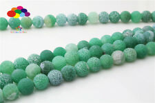 Diy 6/8/10mm Natural green Weathered Stone Round Beads fit Yoga bracelet
