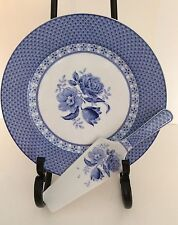Andrea By Sadek Cake Plate And Server China Blue & White Floral