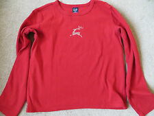 Genuine Gap red with sparkly reindeer logo tshirt ladies small or girls XL