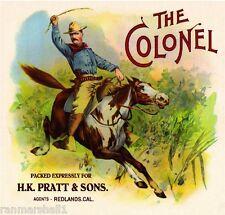 Redlands The Colonel Theodore Roosevelt Orange Citrus Fruit Crate Label Print
