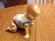 Vintage, Irwin Plastic Blow Mold Wind Up Crawling Baby Doll