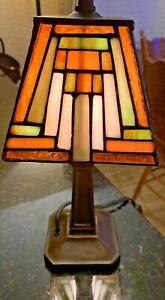 VTG Tiffany Style Stained Glass Accent Lamp Bedroom Desk MBC