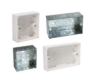 SHPELEC 25mm Double Single FLUSH or Surface Mount Pattress Back Box Socket Plug
