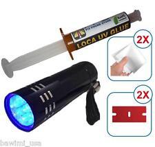 FLASHLIGHT UV + LOCA GLUE 5ml *LOW VISCOSITY LCD GLASS REPAIR Samsung Iphone HTC