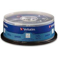 M DISC VERBATIM DVDR 4.7GB 4X Branded Logo 25 pk Spindle 98908