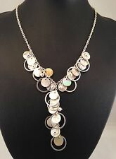 Handmade Mother of Pearl Disc Cut Shells, Ring Spacer Necklace