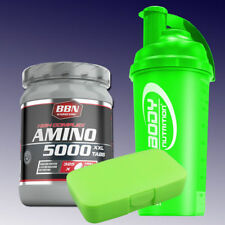 32,22€/kg Best Body Hardcore Amino 5000 325 Tabletten + Shaker u. Pillenbox Grün