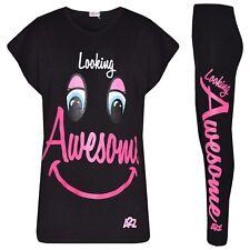 Infantil Tops Negro de Diseño Aspecto Awesome Estampado Camiseta & Juego