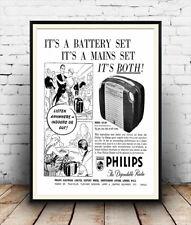 Phillips confiable Radio, Revista Vintage Anuncio Cartel reproducción