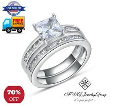 Fashionable Wedding Ring Set  - 0.8 Princess Cut CZ Platinum Plated - 70% OFF