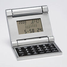 Brookstone Flip Calculator With World Clock, Calendar and Alarm M etal Grey