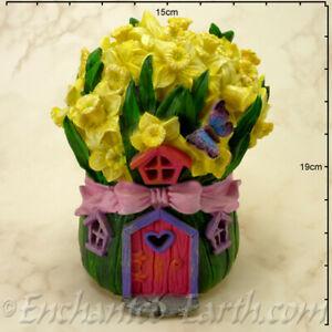 New Solar LED Fairy House -  Daffodil Cottage - 19cm - Fairy Garden House