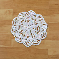 Set of 4 White Crochet Round Lace Doily Cotton Placemat 12inch