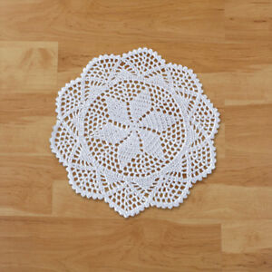 4Pcs/Lot White Vintage Crochet Lace Doilies Round Cup Pad Pattern 12inch Wedding