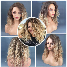 Womens Curly Human Hair Full Natural Wig African Glueless Ombre Synthetic Wig