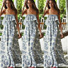 EB_ Women's Summer Boho Sexy Floral Off the Shoulder Long Maxi Beach Dress Relia